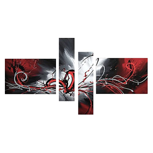 4Pcs Hand-painted Oil Painting Set Flowing Lines Modern Abstract Picture for Home Living Room Bedroom Office Hotel Decoration