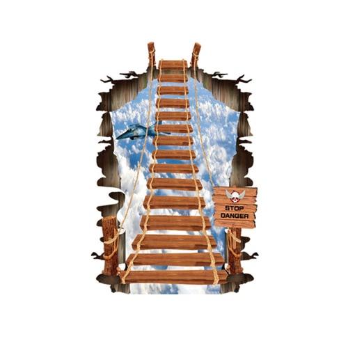 Vivid 3D mur amovible Sticker autocollant d'Art chambre décoration escalier réutilisable motif papier peint