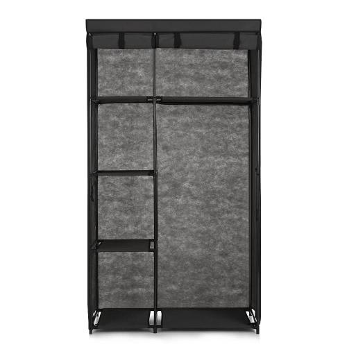 iKayaa portable de la manera Tela armario ropero Gabinete rueda para arriba el almacenamiento de ropa Organizador ropa estante de la suspensión con 5 estantes de almacenamiento de 1 barra colgante