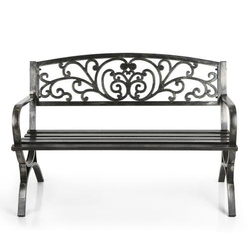 Секундомер iKayaa 3 Seater Iron Patio Garden Park Скамья для кресла Металлическая подставка для крыльца Садовая мебель 220KG Antique Design