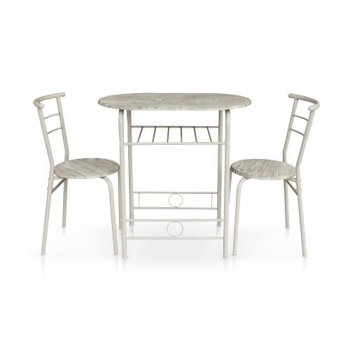 Вторая рука iKayaa Современная металлическая рамка 3PCS Завтрак Обеденный стол с 2 стульями Компактный набор для бистро в стиле 100 кг