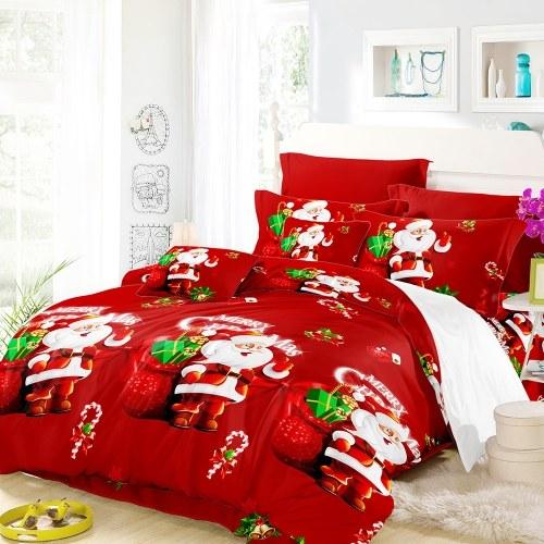 Секонд-хэнд Рождественский комплект постельных принадлежностей для Санта-Клауса Полиэфирная трехслойная трехслойная пододеяльник + 2 шт. Наволочки + набор постельного белья Новогодние украшения для спальни - размер короля