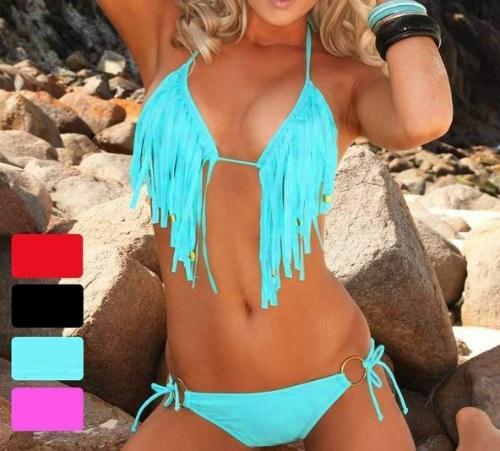 Nuevo borla Sexy flequillo Bikini traje ajustado Beachwear baño acolchada Tie-halter triángulo superior azul