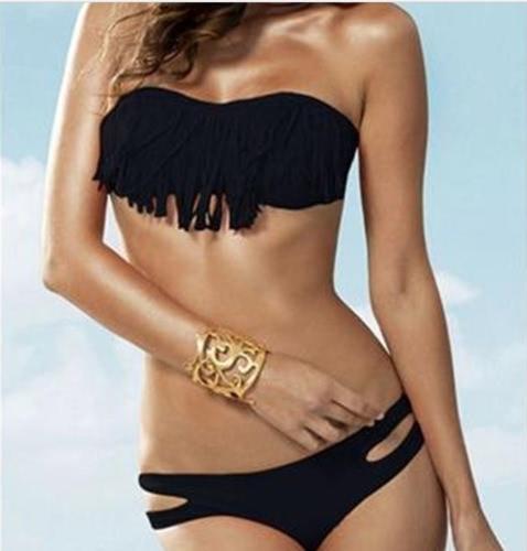 Mode Sexy Frauen Bademode Boho Fringe Quaste Bandeau gepolsterte Beach Badeanzug Baden Bikini Set schwarz