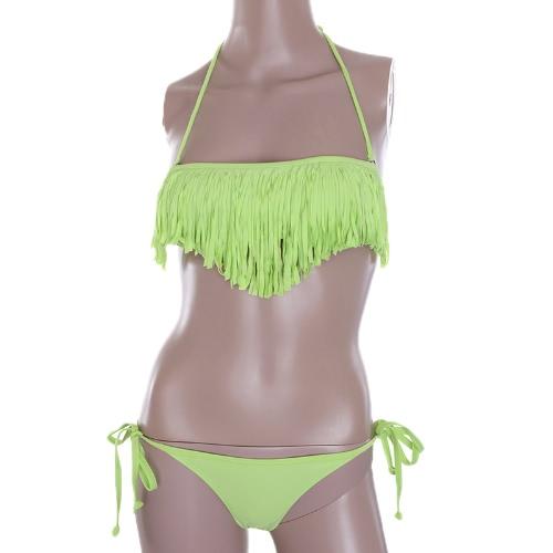 Moda mujeres Sexy traje de baño Boho franja borla Bandeau acolchado playa traje de baño baño Bikini conjunto Lime Green
