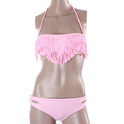 Moda mujeres Sexy traje de baño Boho franja borla Bandeau acolchado playa traje de baño Bikini conjunto rosado