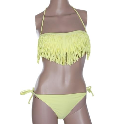 Fashion Sexy Women Swimwear Boho Fringe Tassel Bandeau Padded Beach Swimsuit Bathing Bikini Set Yellow