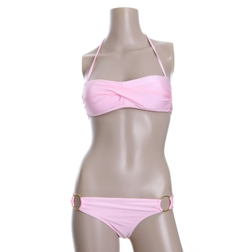 Moda Sexy Bikini conjunto de trajes de baño traje de baño trajes de baño acanalada vestido bandeau con relleno superior rosa