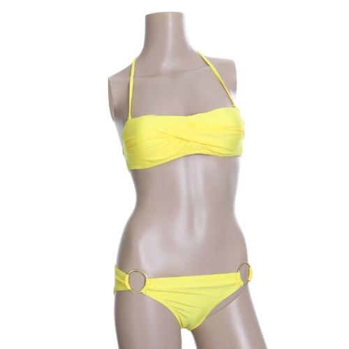 Moda Sexy Bikini Set de baño traje de baño trajes de baño amarillo superior acanalada vestido bandeau con relleno