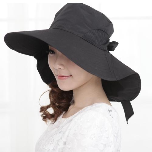 Moda mulheres sol chapéu de aba larga Foldable Self amarrar proa verão praia Cap disquete Headwear preto