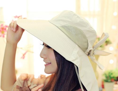Moda mujer el sol sombrero Alón plegable atar arco verano playa Floppy Cap sombrero Beige