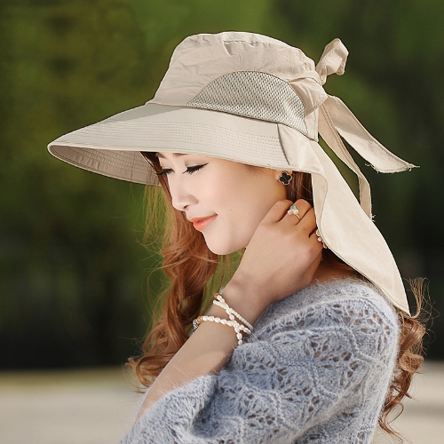 Moda mulheres sol chapéu de aba larga Foldable Self amarrar proa verão praia Cap disquete Headwear Khaki