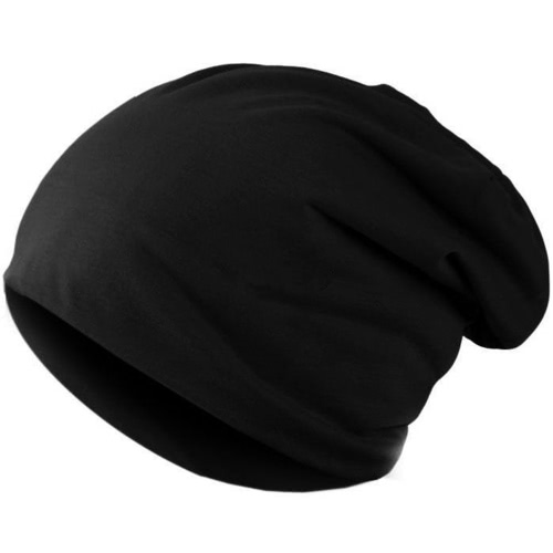 Nueva moda hombres mujeres Beanie Color sólido hip-hop Slouch Unisex gorra gorro negro de punto