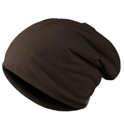 Nueva moda hombres mujeres Beanie Color sólido hip-hop Slouch Unisex punto tapa sombrero café