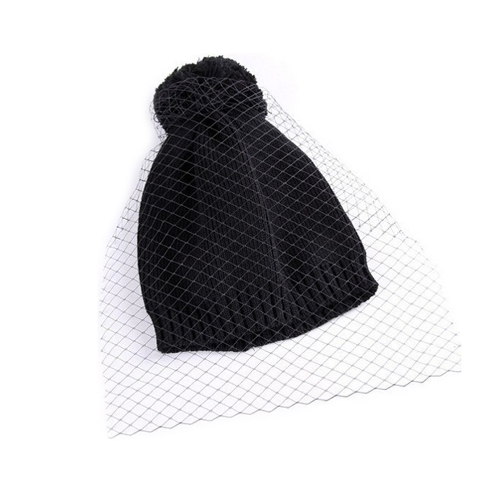 Autumn Winter Women Knitted Beanie Net Veil Bobble Decoration Vintage Crochet  Hat