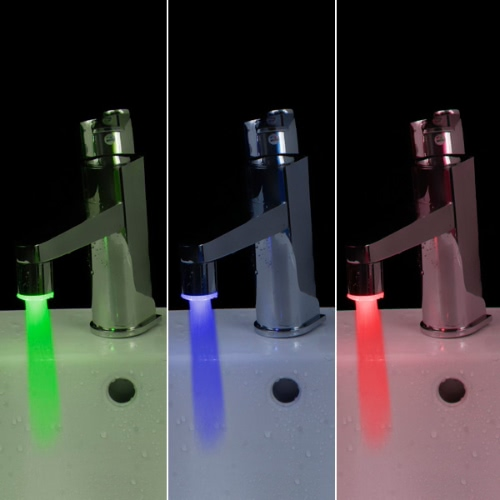 Docooler Mini Pure Copper Glow LED Water Stream Faucet Tap Temperature Sensor 3 Color