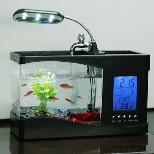 Настольный рыбный резервуар со светодиодными часами