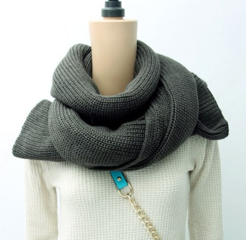 Korean Fashion Women Men Scarf Knit Solid Long Warm Unisex Wrap Shawl Grey