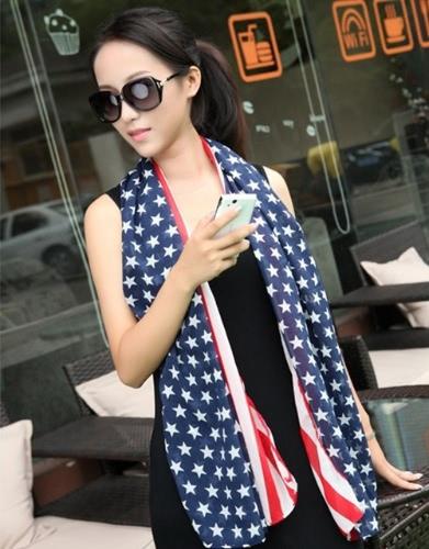 Moda donna uomo bambini sciarpa Chiffon bandiera americana Stars Stripes lunga scialle Wrap Pashmina Unisex