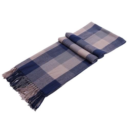 Fashion Autumn Winter Men Women Scarf Plaid Pattern Tassel Trim Long Warm Shawl Wrap Pashmina Unisex Blue & Grey