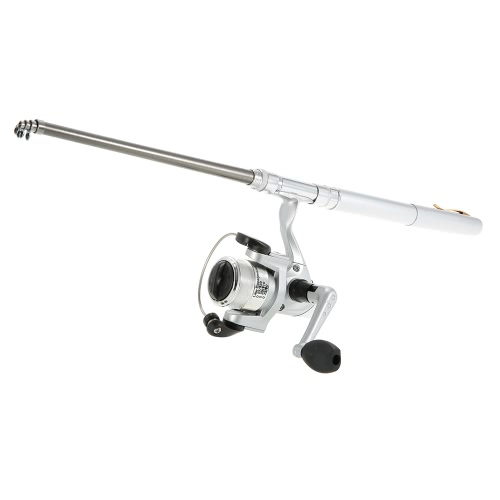Docooler Mini Aluminum Pocket Pen Fishing Rod Pole + Reel, Silver