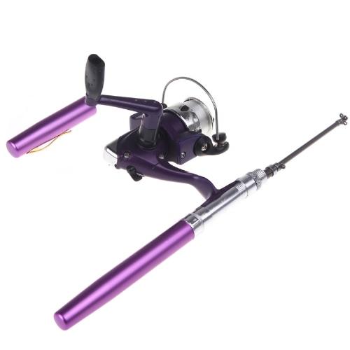 Aluminio Mini Pocket pluma caña de pescar Polo + carrete púrpura