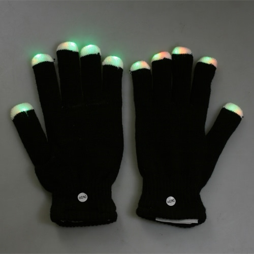7 Modos LED dedos luces de iluminación intermitentes Guantes brillantes Negro