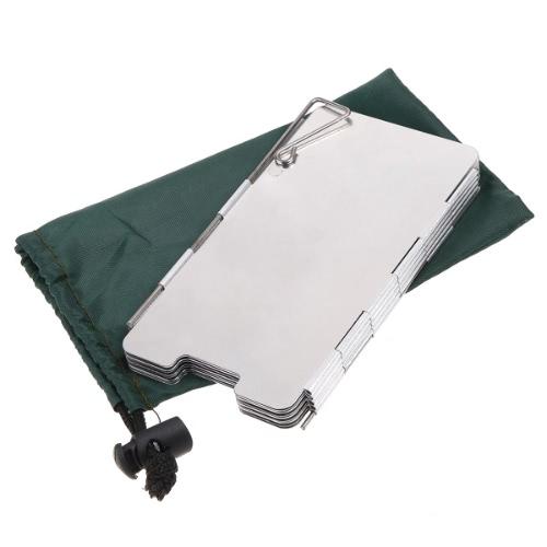 9 placas de estufa plegable de camping al aire libre Anti viento pantalla escudo para la comida campestre Picnic Color plata