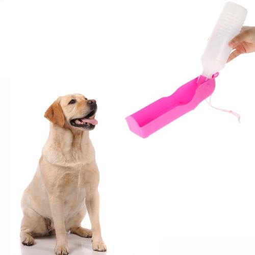 Питьевой собака кошка воды питание напитки бутылку распылитель Pink 500 мл