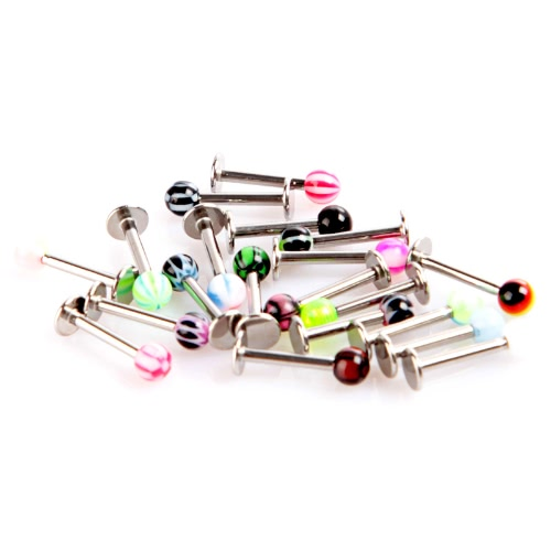 Docooler 20pcs Colorful Stainless Steel Cone Lip Rings Bars Labret Stud Piercing
