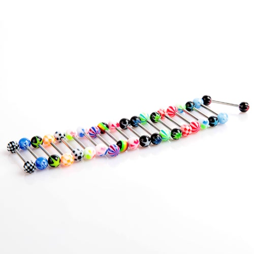 Anself 20pcs Colorful Stainless Steel Ball Barbell Tongue Rings Bars Piercing