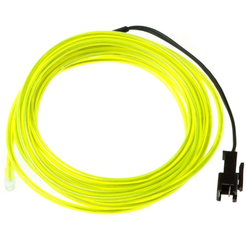 3M Flexible Neon Light EL Wire + Controller Transparent Lemon