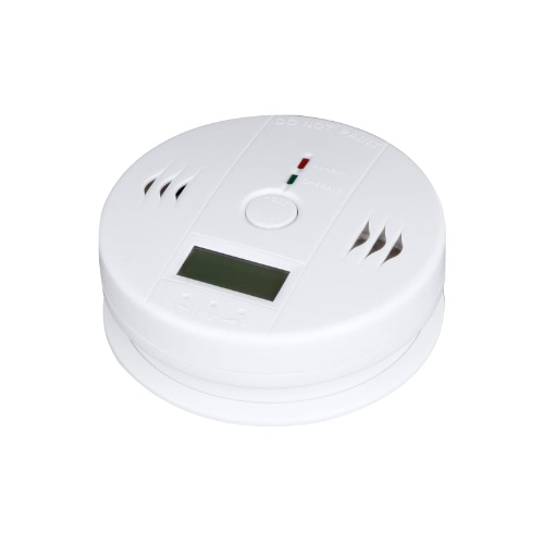 LCD CO Carbon Monoxide Poisoning Sensor Monitor Alarm Detector White