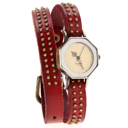 Mujeres dama cuarzo pulsera reloj Vintage remaches octágono abrigo bronce correa pulsera