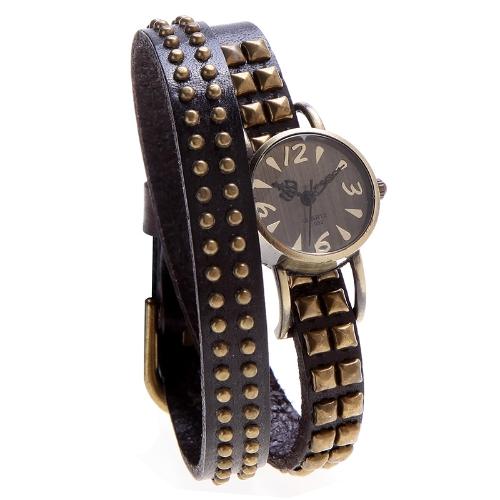As mulheres Lady quartzo pulso relógio Vintage rebite redonda Wrap pulseira bracelete couro genuíno da vaca