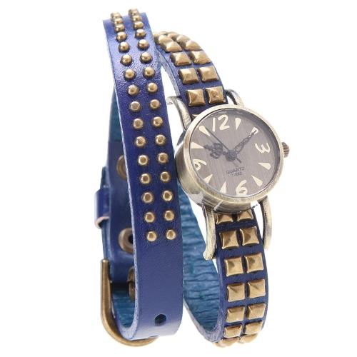 Las mujeres dama cuarzo pulsera reloj remache redondo Wrap correa pulsera cuero genuino de la vaca