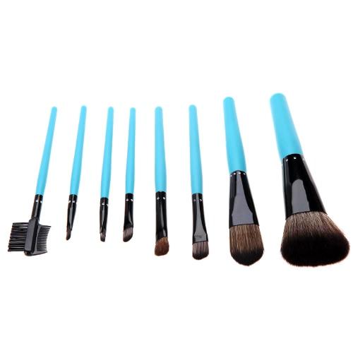 Professionelle Make-up Pinsel Kosmetik Set 8ST Pinsel Kit Make-up Tool mit Schlange Muster faltbare Leder RS blau