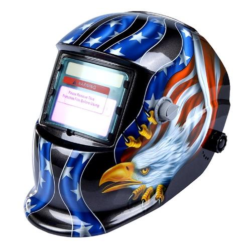 太陽自動暗くなる溶接のヘルメット溶接機マスク アーク Tig ミグ研削イーグル ブラック