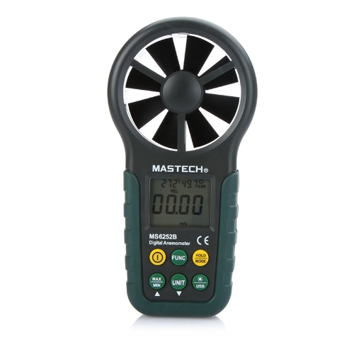 Portable Digital Anemometer Handheld LCD Electronic Wind Speed Air Volume Measuring Meter with Temperature and Humidity Display USB Data Upload Backlight
