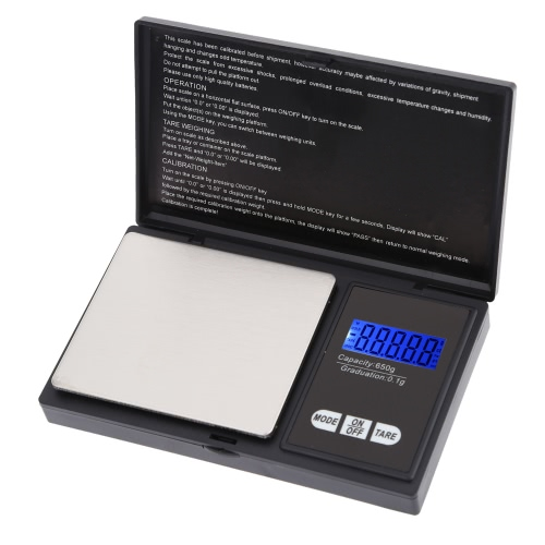 High Accuracy Mini Electronic Digital Pocket Scale Jewelry Weighing Balance Portable 650g/0.1g Blue LCD g/gn/oz/ozt/ct/t/dwt