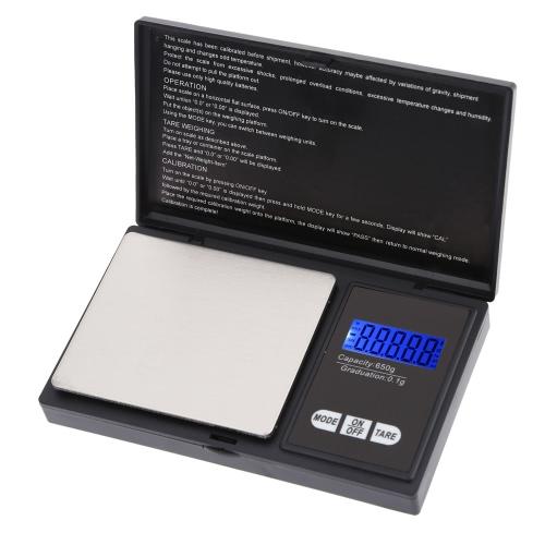 Высокая точность мини электронной цифровой карман масштаба ювелирных изделий весом баланс портативный 650g / 0.1 g голубой LCD g/gn/oz/тр. унц. / ct/t/dwt