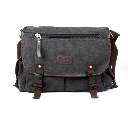 Męska Płótno vintage Crossbody Satchel ramię Casual Messenger Bag Czarny School Book