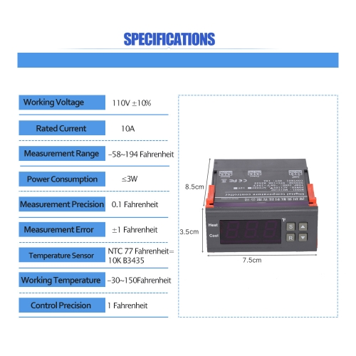 10A 110V Digital Temperature Controller Thermocouple -58~194 Fahrenheit with Sensor