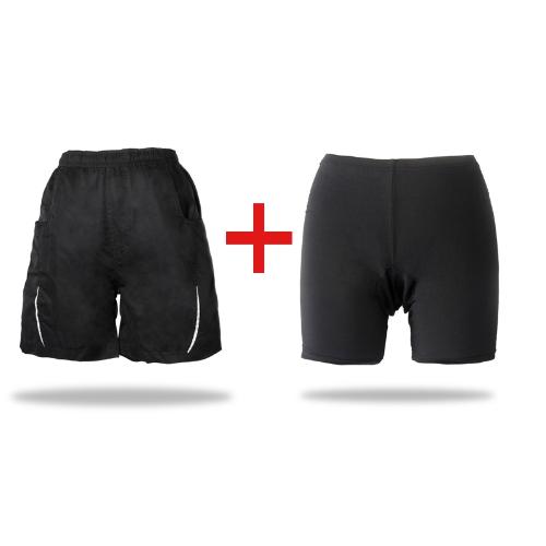 2 in 1 tempo libero Shorts + Gel 3D imbottito ciclismo pantaloni termici sciolto biciclette bici MTB