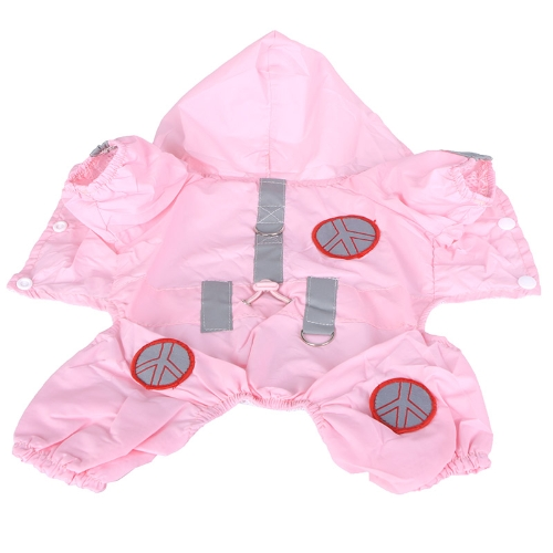 Pet Dog Raincoat Hoodie Hooded Waterproof Jacket Pet Clothes Apparel Pink