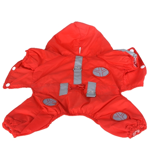 Pet Dog Raincoat Hoodie Hooded Waterproof Jacket Pet Clothes Apparel Red