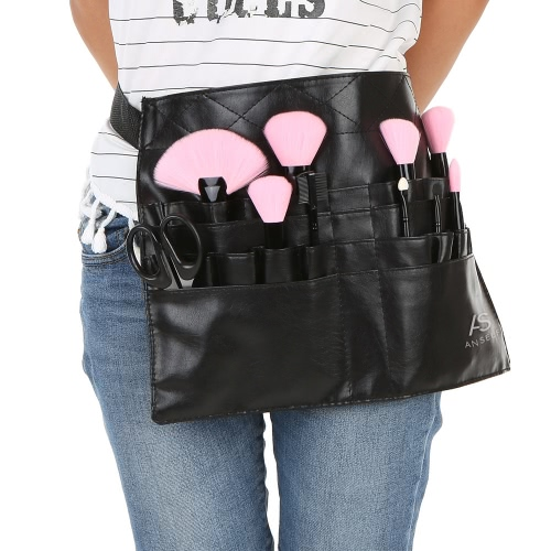 Anself Professional Travel Cosmetic Makeup Brush Apron Bag Beauty Purse Case Hand Holder Bag with Belt Strap Holder