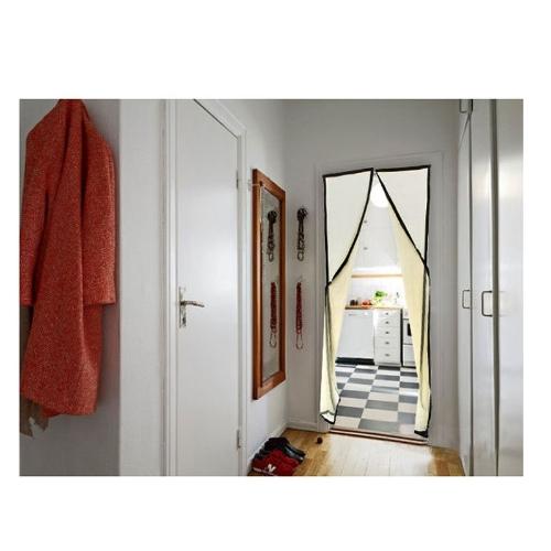 Hands-free Mesh Magnetic Screen Door Curtain Anti-Mosquito/Bug Beige