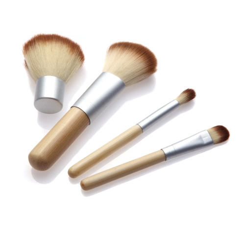 4ST Bambus Handle Make-up Pinsel Set Kosmetik Kit Powder Blush Pinsel