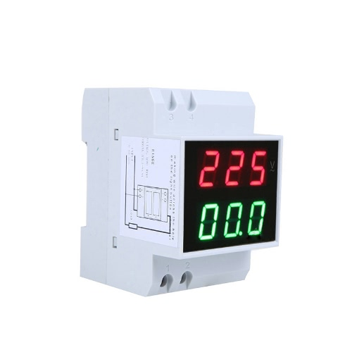 KKmoon Digital Din-Rail LED Voltage Ammeter Current Meter Voltmeter AC80-300V 0.2-99.9A Dual Display